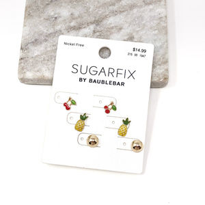 4/$25 • Cherry Pineapple Studs Earrings Set